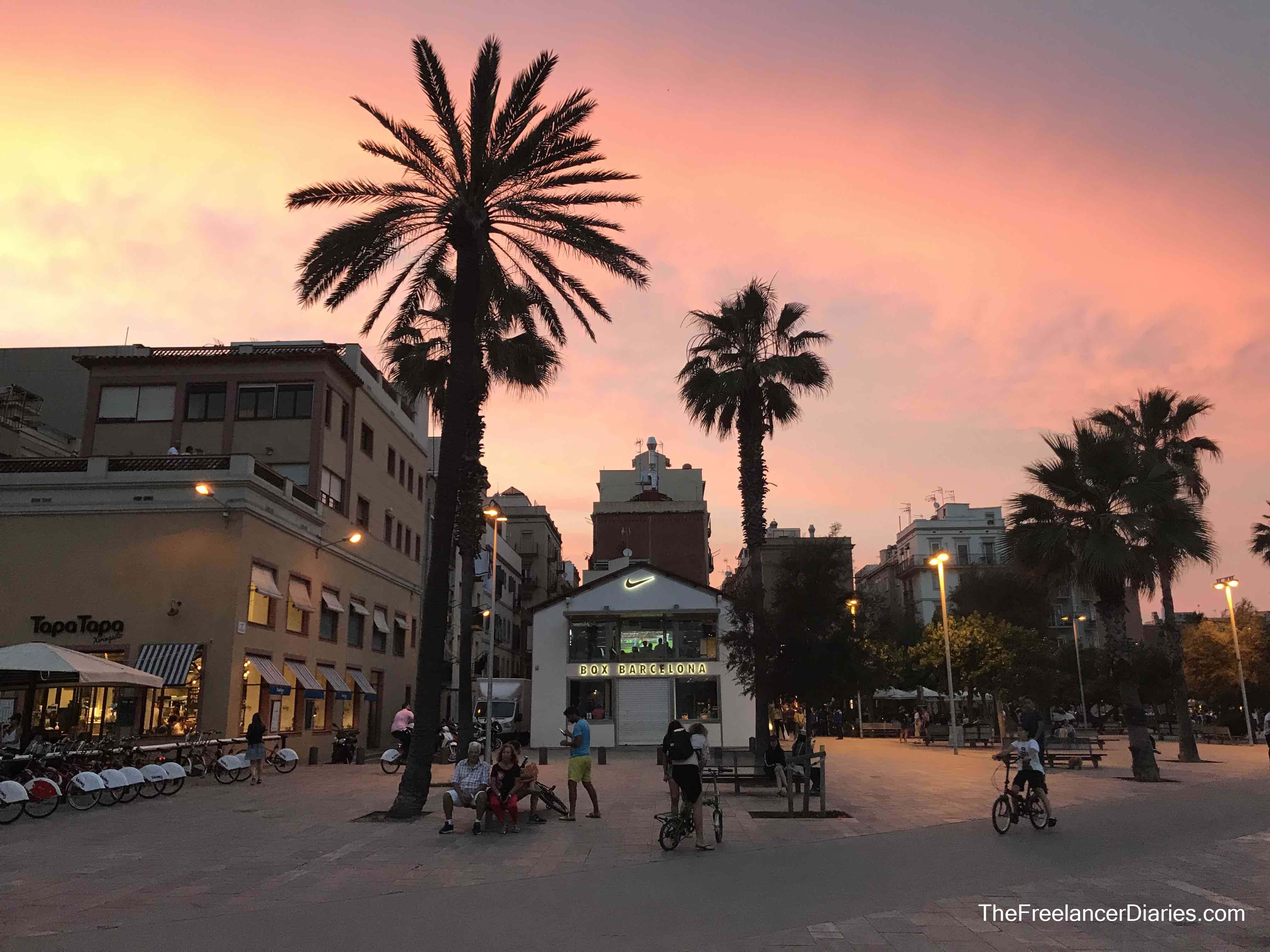 Barcelona box sunset